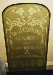 D & J Edmond door Glass  donated to archive